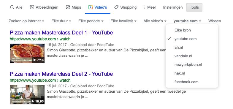 youtube zoeken op ondewerp google